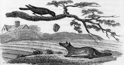 A Sly Fox and a Foolish Crow