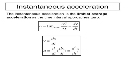 Instantaneous Acceleration related to Motion