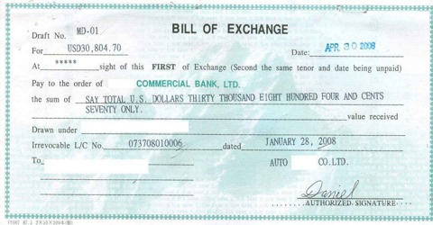 Which Information are includes in Bill of Exchange?