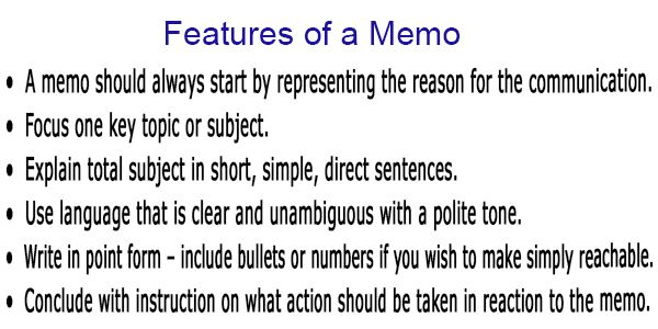 Features of Memo