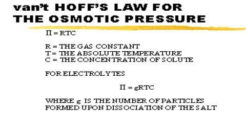 Van't Hoff's Laws of Osmotic Pressure