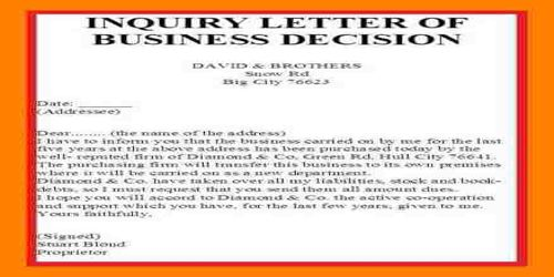 Contents or Elements of Reply Letter to Business Status Inquiry Letter