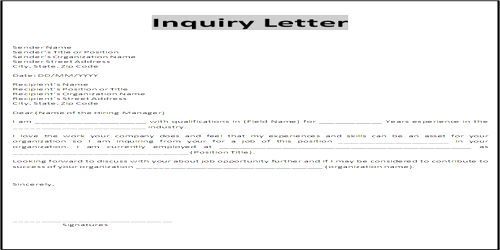 Types of Inquiry Letter