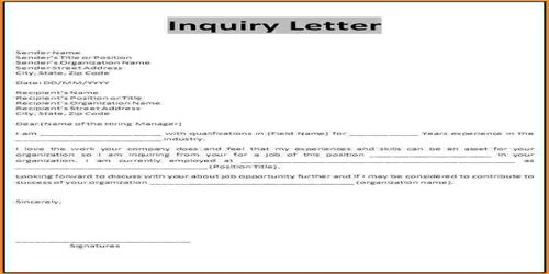 Meaning of Inquiry Letter