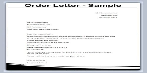 Factors to be Considered in Writing Order Letter