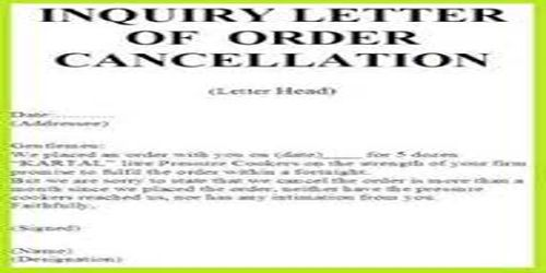 Contents of Order Cancellation Letter