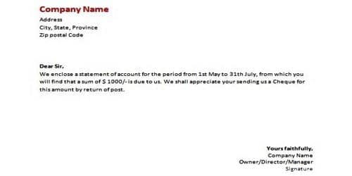 Sending Statement of Account Letter