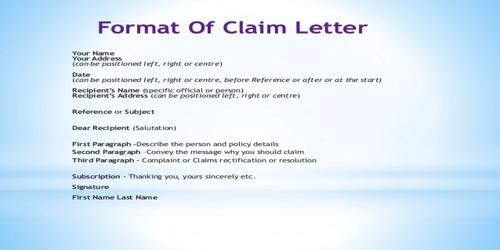From or Type of Claim Letter