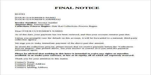 Features of Ultimatum Letter