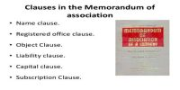Name clause of Memorandum of Association