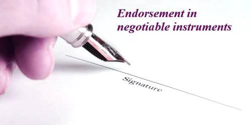 Endorsement in negotiable instruments