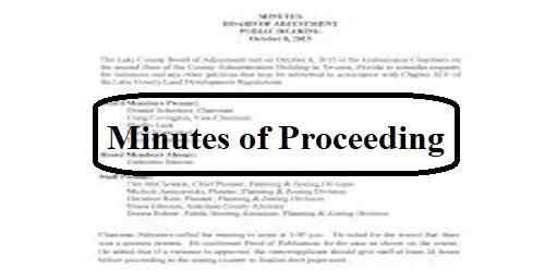 Minutes of Proceeding