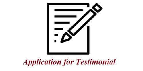 Application for Testimonial from Principle