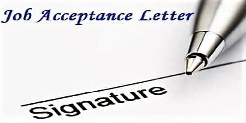 Job Acceptance Letter Format