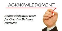 Acknowledgment letter format for Overdue Balance Payment
