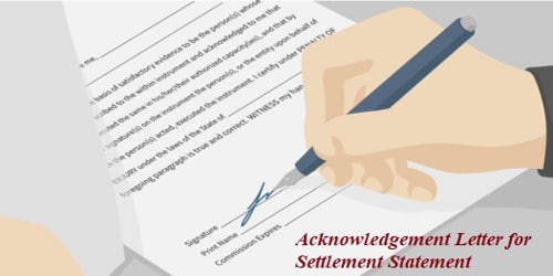 Acknowledgement Letter for Settlement Statement of purchase or sales items