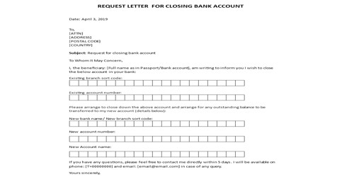 Application for Closure of the Bank Account