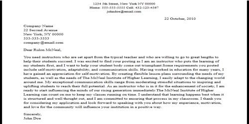 Cover Letter for Adjunct Instructor