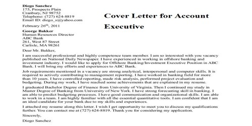 Cover Letter for Account Executive