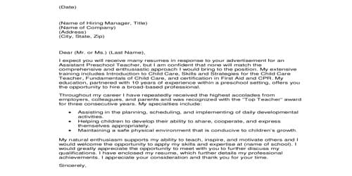 Cover Letter for Activity Director