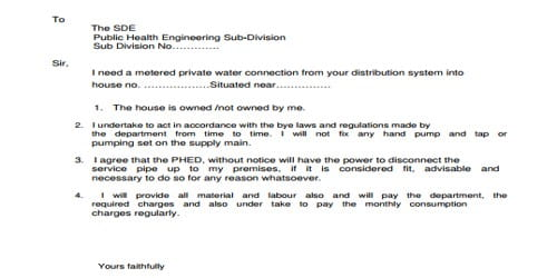Application for New Water Supply Connection