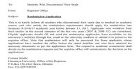Application for Readmission in College as a Student