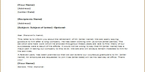 Appreciation Letter on Retirement from Employer