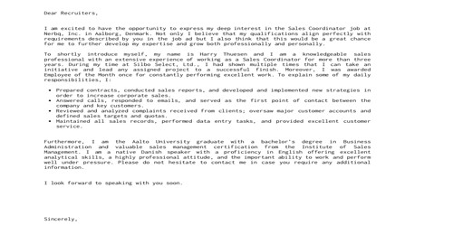 Cover Letter for Academic Coordinator