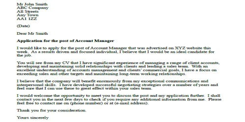 Cover Letter for Account Manager