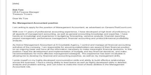 Cover Letter for Accounting Director or Manager