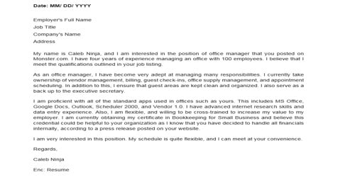 Cover Letter for Admin Manager