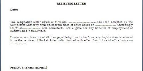 No Objection (NOC) letter for Leaving Job