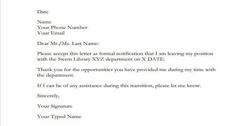 Resignation Letter format for Teacher
