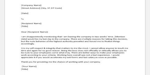 Resignation Letter to Employer or Higher Authority with Thanks