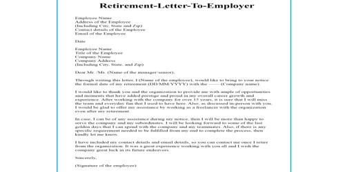 Retirement Letter to the Employer