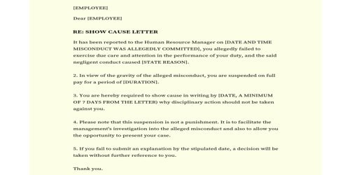 Show Cause Notice to Employee for Misconduct