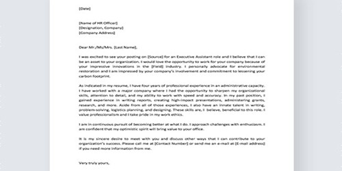 Cover Letter for Administration Officer