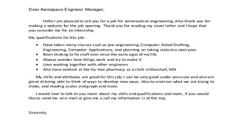 Cover Letter for Aerospace Engineer