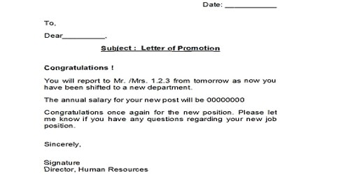 Letter of Promotion by Employer