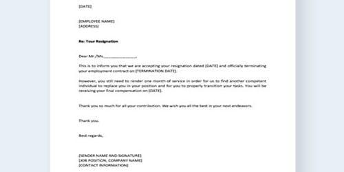 Sample Relieving Order Letter Format
