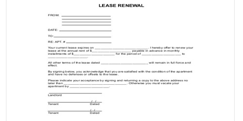 Renewal Letter for Lease Agreement Extension