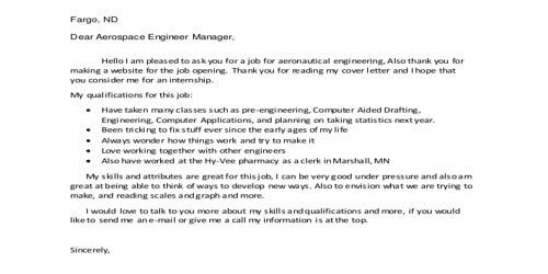 Cover Letter for Aeronautical Engineer