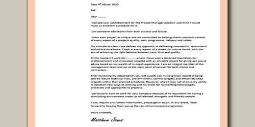Cover Letter for Application Manager