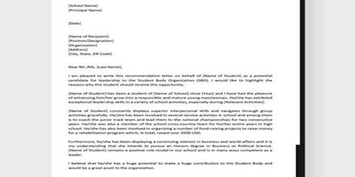 Candidate Nomination Letter for Leadership Role