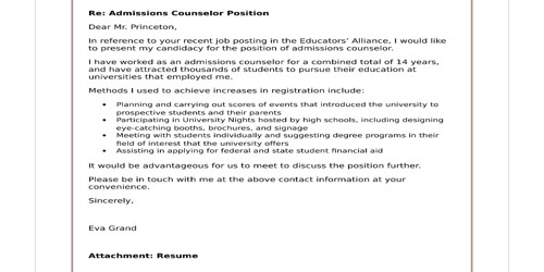 Cover Letter for Admissions Counselor