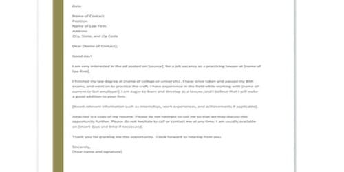 Cover Letter for Advocate Job Position