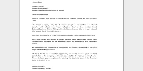 Letter of Transfer from Company