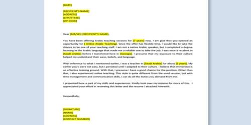 Cover Letter for Arabic Teacher