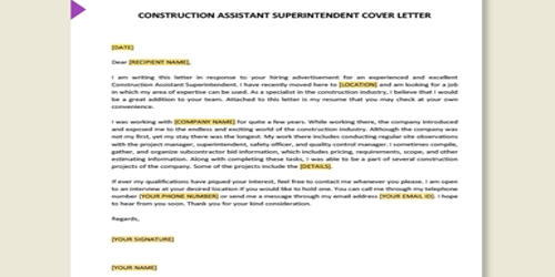 Cover Letter For Assistant Construction Superintendent Qs Study