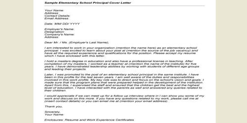 Cover Letter for Assistant Principal